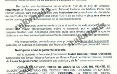 Cancela tribunal orden de aprehensión contra Gastón Azcárraga