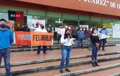 Piden alto a las altas cuotas en la UABJO y mayor subsidio del gobierno