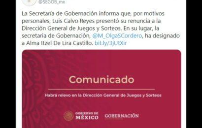 Renuncia Calvo Reyes a Dirección de Juegos y Sorteos