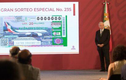 Recaudan 2 mil mdp en sorteo por avión presidencial, informa la Lotería