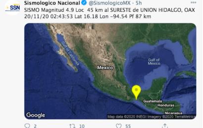 Sismo magnitud 4.9 sacude este viernes población del Istmo de Tehuantepec