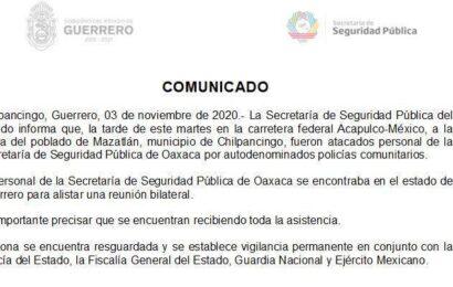 Dos heridos en ataque armado contra personal de Seguridad Pública de Oaxaca en Guerrero