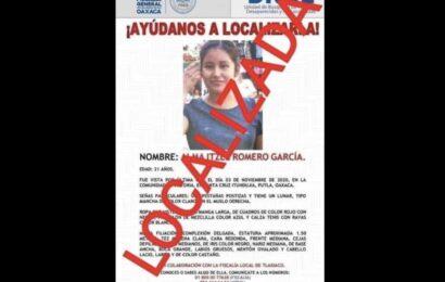 Encuentran sin vida a joven desaparecida en Oaxaca