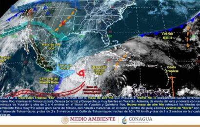 Eta mantendrá lluvias intensas en Campeche, Oaxaca, el sur de Veracruz y Yucatán.