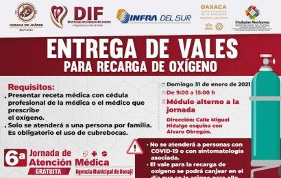 Ayuntamiento de Oaxaca de Juárez entregará vales para recarga de oxígeno