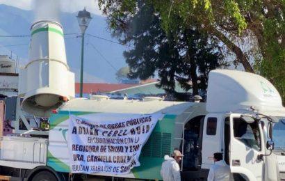 Sólo después de contagiarse por segunda vez, edil sanitiza Santa Lucía del Camino