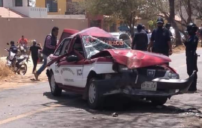 Dos lesionados, deja fuerte choque en San Pablo Huixtepec