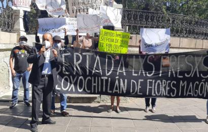 Piden liberación de presos políticos de Eloxochitlán