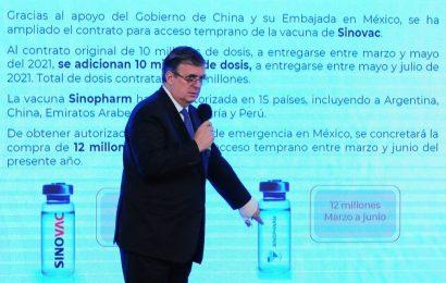 Se amplía contrato con China hasta 22 millones de dosis de vacunas: Ebrard