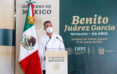 En el marco del 215 aniversario del natalicio de Benito Juárez convoca Alejandro Murat a la unidad nacional