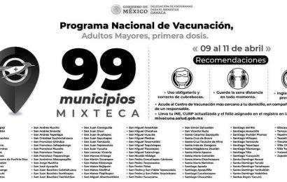 29 mil 014 dosis de la vacuna CanSino a adultos mayores de 99 municipios mistemos