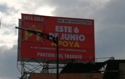 Dante Montaño aún sin estar avalado, tapiza Santa Lucía con propaganda del PT