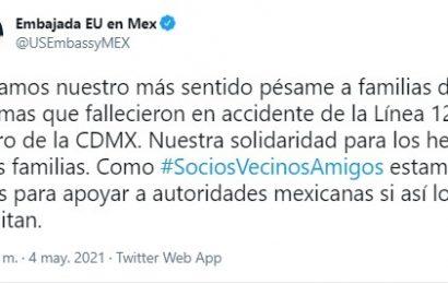 Dignatarios y diplomáticos se solidarizan con México por accidente en L-12