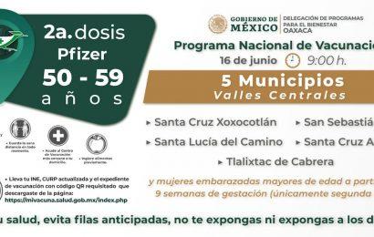 Este miércoles aplicarán segunda dosis de vacuna anticovid en cinco municipios