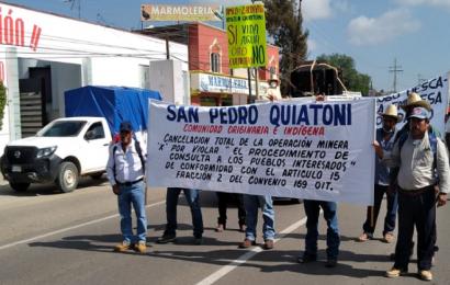 Protestan comuneros de Quiatoni protestan contra proyectos mineros